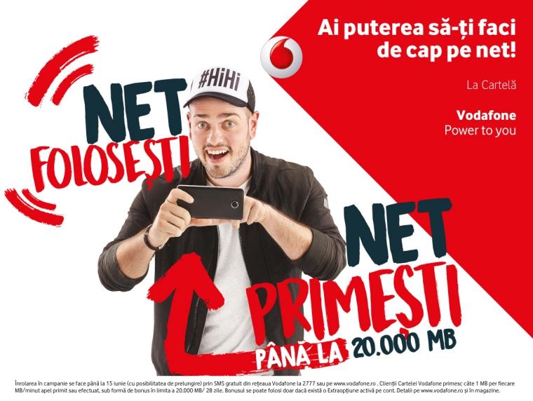 Utilizatorii Cartelei Vodafone primesc lunar pana la 20.000 de MB