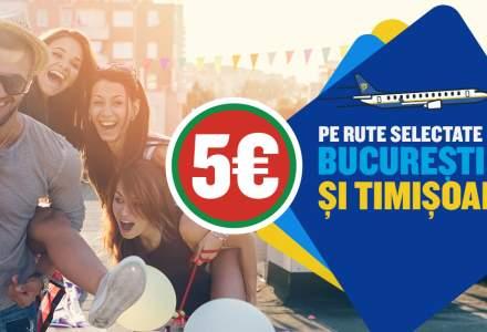 Ryanair pune in vanzare bilete de avion de la 5 euro pe rute din Bucuresti si Timisoara