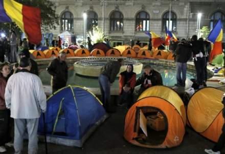 A doua zi in strada pentru unionisti, dupa o noapte in cort la marsul pentru Basarabia