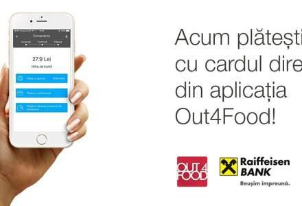 Parteneriat City Grill - Raiffeisen Bank pentru plata din aplicatia Out4Food. Cum functioneaza sistemul si cine stocheaza datele cardurilor