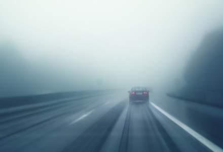 Cod galben de ceata in cinci judete: vizibilitatea este redusa pe mai multe drumuri nationale