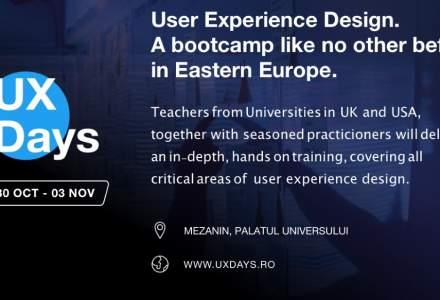 (P) UX Days, primul bootcamp intensiv de User Experience din Romania, are loc pe 30 octombrie - 3 noiembrie la Bucuresti