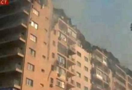 Incendiu puternic la blocurile lui Negoita din Confort City. Un etaj s-a prabusit (VIDEO). UPDATE