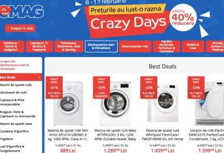 eMAG Crazy Days: reduceri la electrocasnice, telefoane mobile sau laptopuri