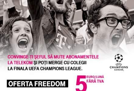 "(P) Telekom Romania te trimite la finala UEFA Champions League 2019. ""Convinge-ti seful!"" sa porteze abonamentele companiei la Telekom si castiga 10 bilete pentru tine si echipa ta!"