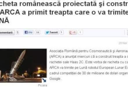 Racheta romaneasca proiectata si construita de ARCA a primit treapta care o va trimite PE LUNA