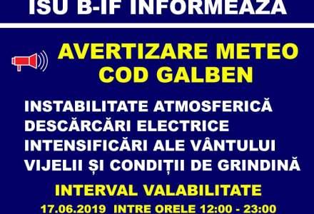 Recomandarile ISU Bucuresti - Ilfov pentru populatie, pe perioada Codului galben de vreme rea