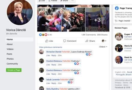 Festin de felicitari pe pagina lui Dancila