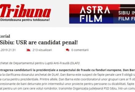 """PSD plateste publicitate pentru a spune ca """"USR are candidat penal!"""""""