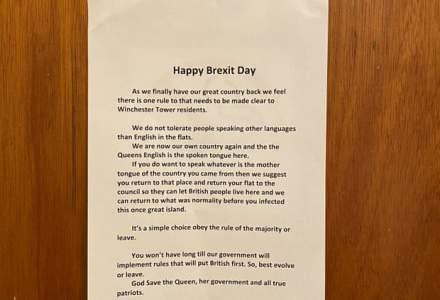 Brexit | Anunt pentru locatarii unui bloc din Norwich, Regatul Unit: Engleza este singura limba vorbita aici