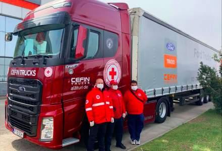 Cefin Trucks pune la dispoziție un camion Ford pentru a transporta echipamente medicale și donații