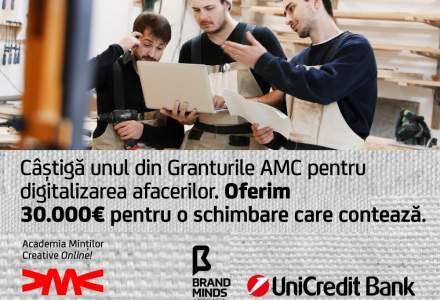 Granturi de 30.000 de euro pentru antreprenori de la UniCredit Bank și Academia Minților Creative