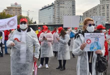 Sindicaliștii Federației Sanitas protestează din nou în fața Guvernului