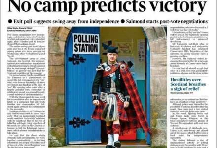 Independenta Scotiei? Mai degraba NU: ce au ziarele britanice pe prima pagina vineri
