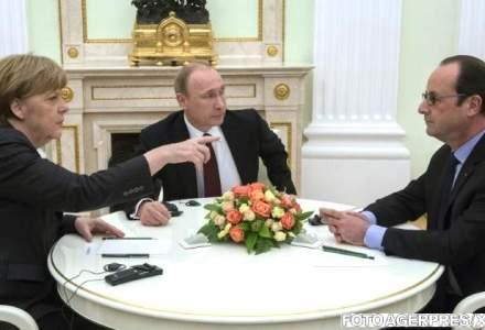 "Francois Hollande, Petro Porosenko, Vladimir Putin si Angela Merkel au constatat ""progrese"" in implementarea Acordului de la Minsk"