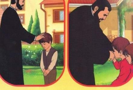 Lectie de ingrozit copiii in manualul de religie de clasa a II-a: exemplul unei fetite care plange in hohote ca tatal ei este grav bolnav, pe patul de moarte la spital