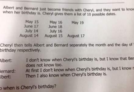 Cand este ziua de nastere a lui Cheryl? O problema de logica-matematica din Singapore a devenit viral pe Internet