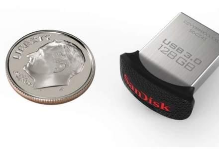 Cel mai mic stick de memorie USB de 128GB din lume: cum arata SanDisk Ultra Fit, de dimeniunea unei monede