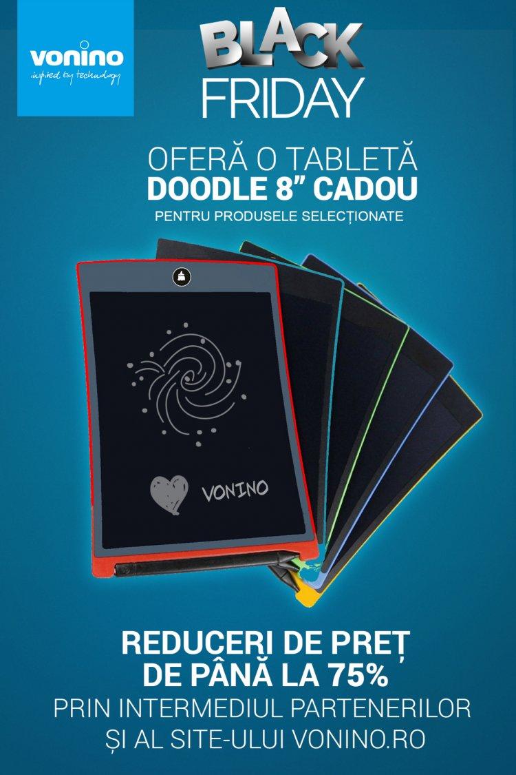 """Vonino oferă o tabletă Doodle 8"""" CADOU pentru produsele selecționate și reduceri de preț de până la 75% prin intermediu"""