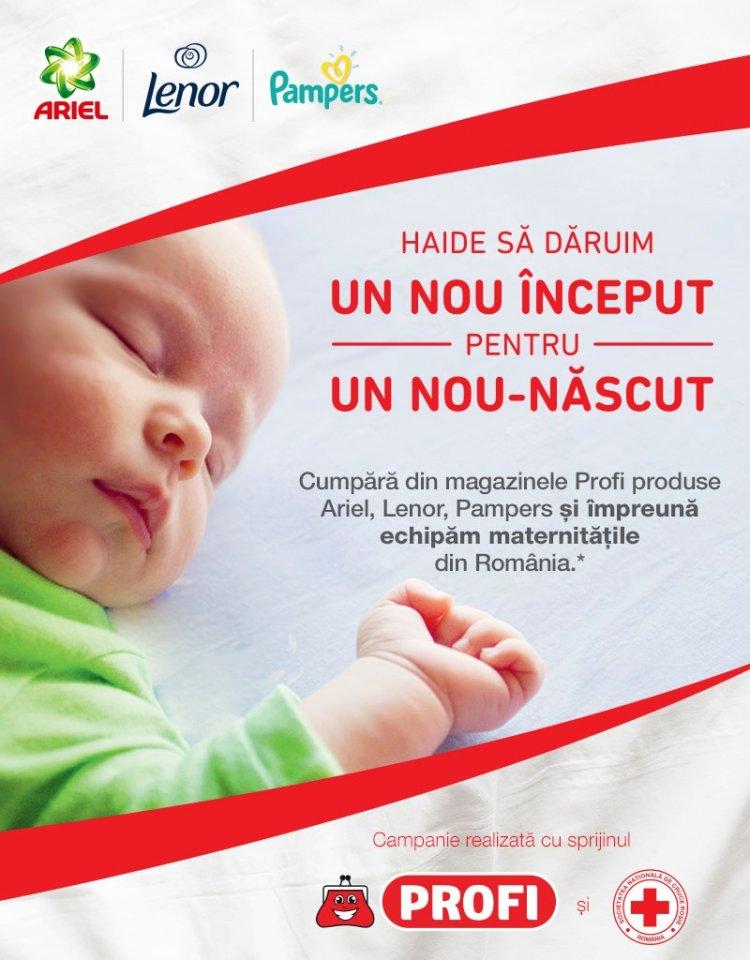 128 de pătuțuri noi și 10.450 de lenjerii de pat donate maternităților, din partea Crucii Roșii Române, P&G si PROFI