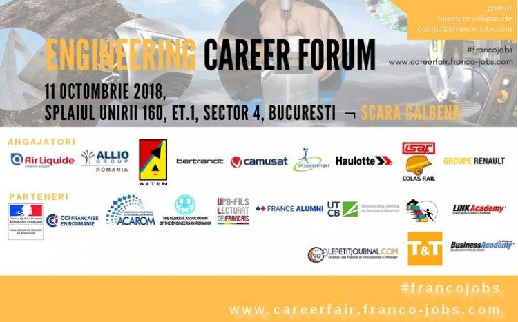 Companiile angajează ingineri la Engineering Career Forum pe 11 octombrie 2018 în București.