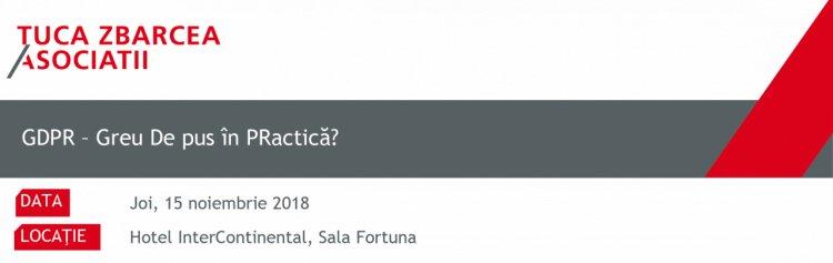 Conferință-bilanț la 6 luni de la intrarea în vigoare a Regulamentului UE nr. 679/2016 (GDPR), 15 noiembrie, Hotel Intercont