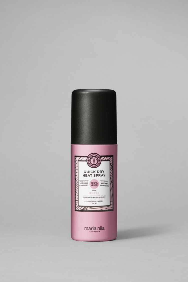 Descopera Quick Dry Heat Spray de la Maria Nila pentru protectie termica eficienta si creativitate in styling.