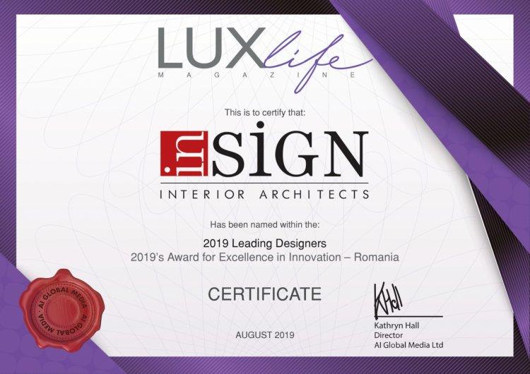 inSIGN by Noblesse Group International a primit premiul pentru excelență în inovație în design interior