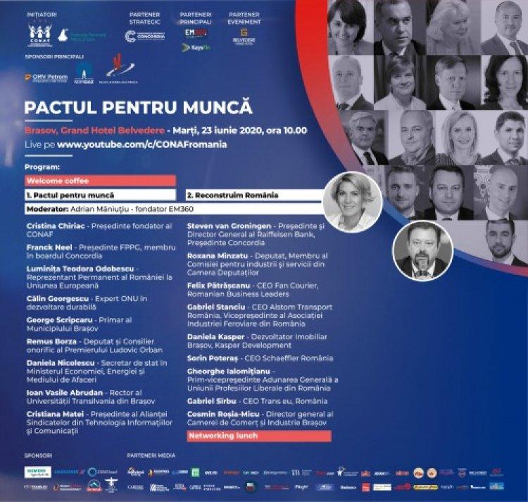 PACTUL PENTRU MUNCĂ. ÎMPREUNĂ RECONSTRUIM ROMÂNIA la Brasov
