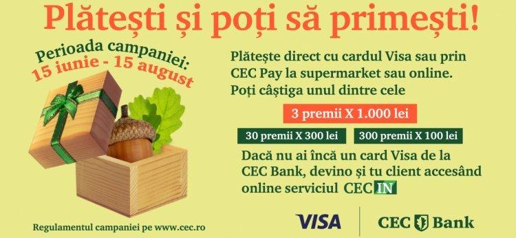 Tranzacțiile cu cardul tău CEC Bank Visa îți pot aduce premii în bani