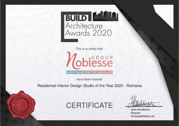 "Noblesse Group desemnat ""Residential Interior Design Studio of The Year 2020 - Romania"""