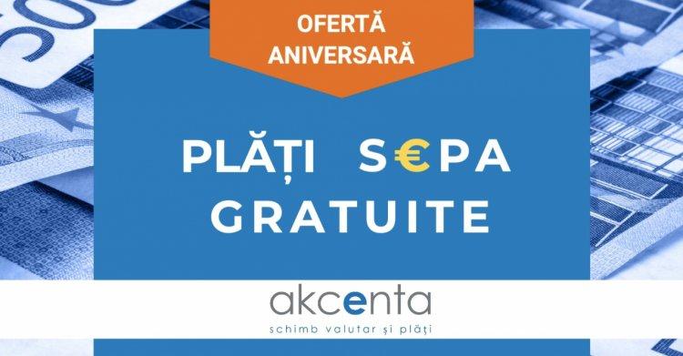 AKCENTA oferă plăți SEPA gratuite cu ocazia aniversării a 6 ani pe piața din România