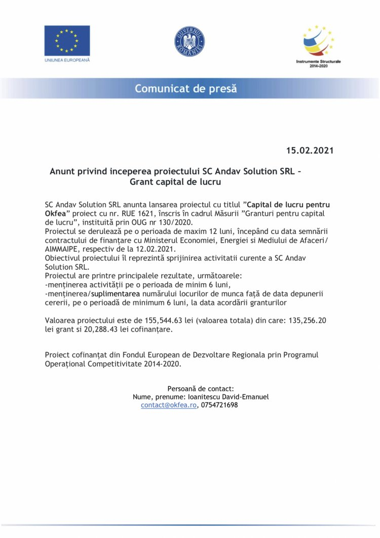 Anunt privind inceperea proiectului SC Andav Solution SRL – Grant capital de lucru