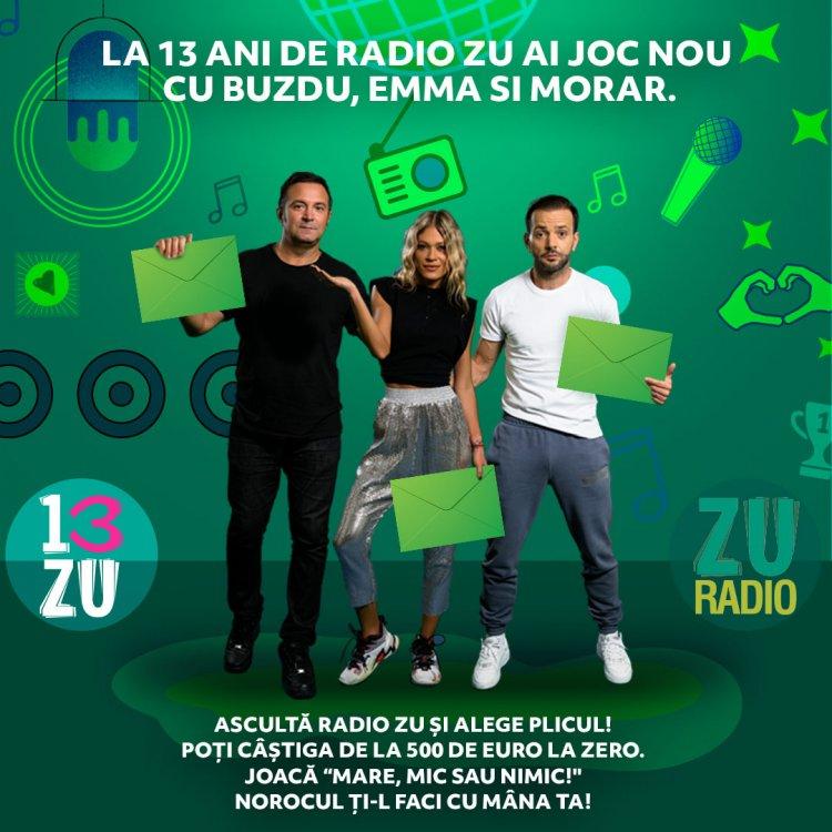 """13 ani de Radio ZU, ai joc nou cu Buzdu, Emma și Morar. Ascultă Radio ZU și joacă """"MARE, MIC sau NIMIC""""!"""